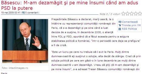 Basescu dezamagit de El